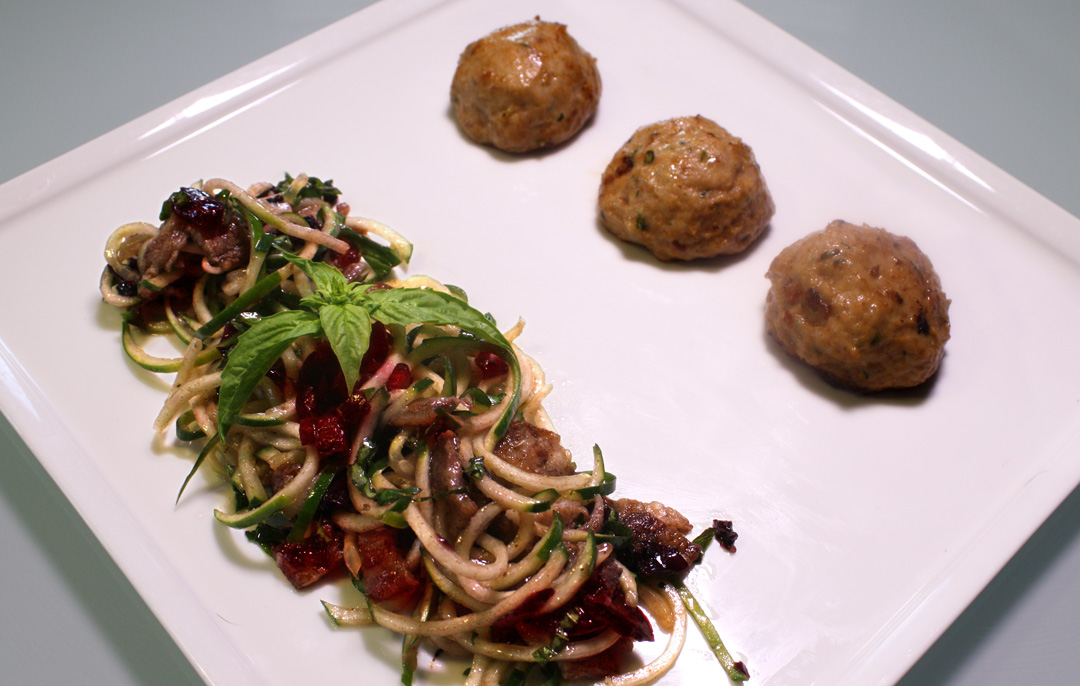 ... Chicken Meatballs paired with a Pork Belly & Cherry Cucumber Noodle