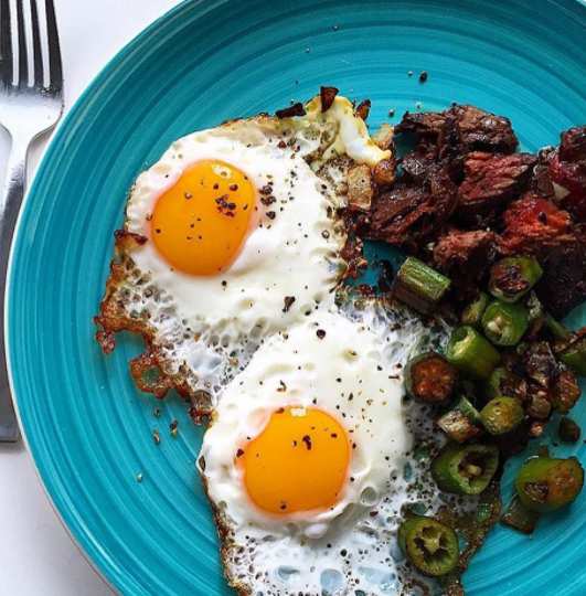 Steak and Eggs with Okra